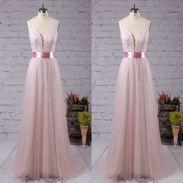 Sweet V Neck Lace Long Prom Dress With Pink Sash,Party Dresses, Evening Dresses,PDY0320