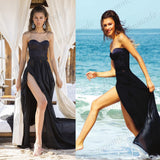 Beautiful A-Line Black Sleeveless Floor-length Chiffon Prom Dress/Evening Dress/Formal Dresses,PDY0269