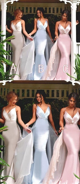 Gorgeous V-neck Spaghetti Mermaid Long Bridesmaid Dresses,Wedding Party Gowns,WGY0232