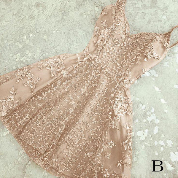 Shinning A-Line Spaghetti Straps V-neck Lace Homecoming Dresses,Short Prom Dresses,BDY0190