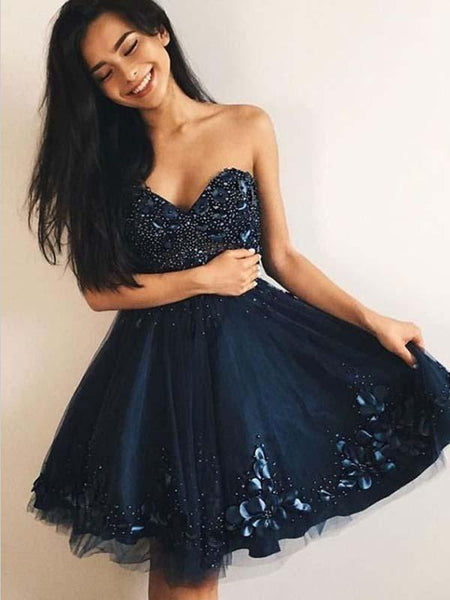 A-Line Sweetheart Navy Blue Tulle Homecoming Dress ,Short Prom Dresses,BDY0364