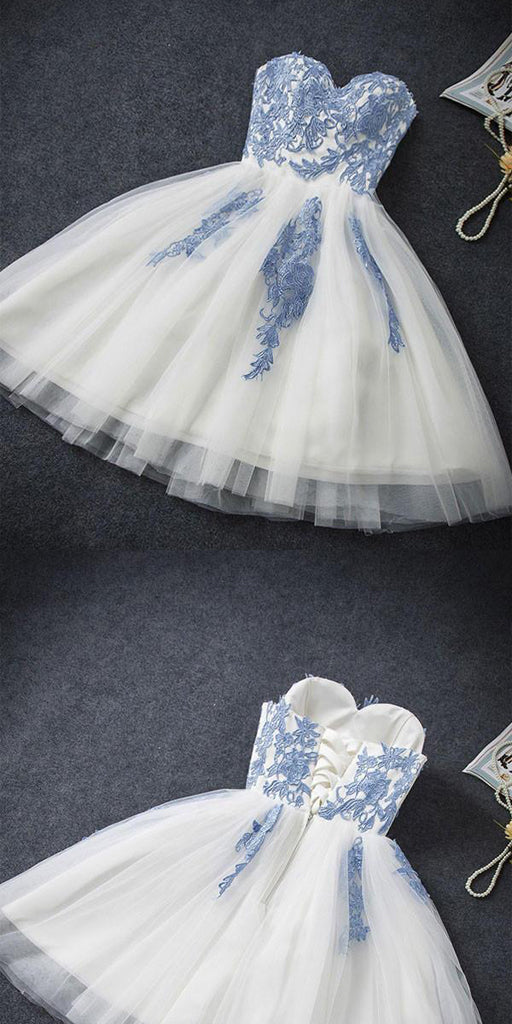 Sweetheart A-line Blue Lace Homecoming Dress ,Short Prom Dresses,BDY0353