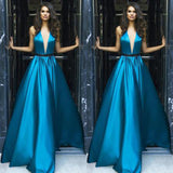 A-line V-Neck Halter Sweep Train Blue Sleeveless Satin Backless Prom Dress, Evening Dress,PDY0356