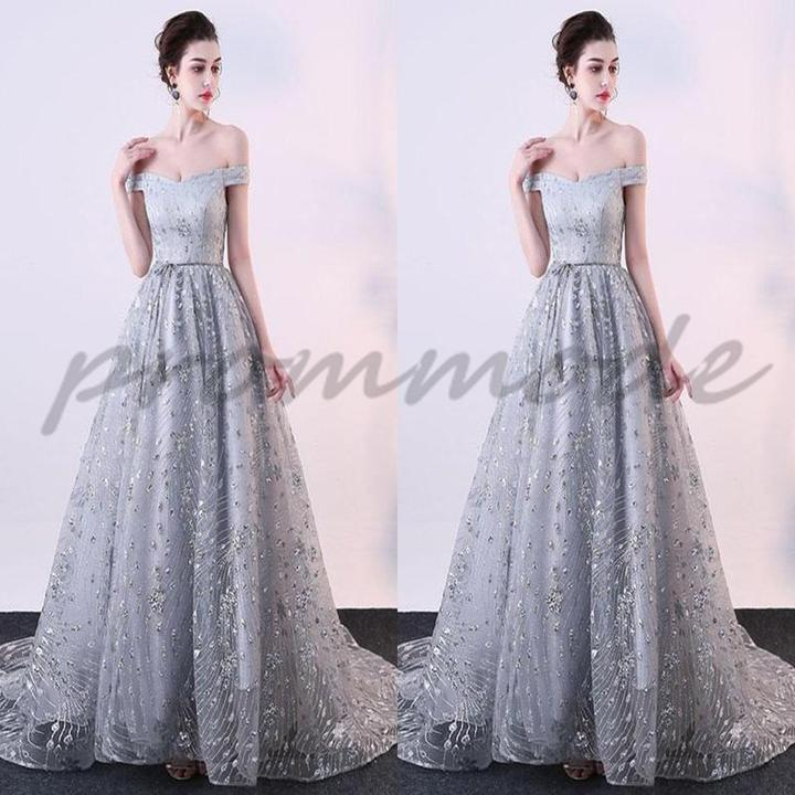 Elegant Gary Tulle Off Shoulder Long Evening Gowns,Prom Dresses,Party Dresses,PDY0348