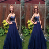 Sweetheart Royal Blue Tulle Long Prom Dresses With Beading,Evening Dresses,Party Dresses,PDY0334