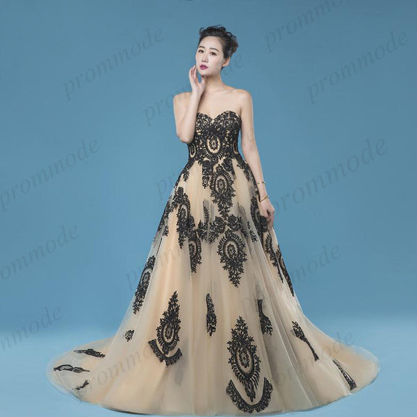 Sweetheart A-Line Long Floor-length Tulle Lace Prom Dress,Evening Party Dress,PDY0272