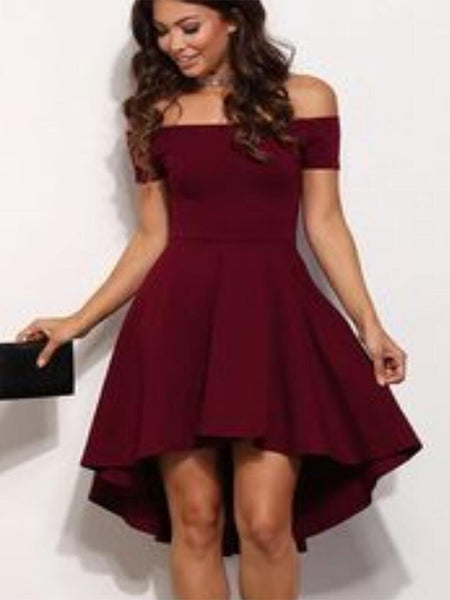 Hi-Lo Off-the-Shoulder Burgundy Homecoming Dresses,Cheap Short Prom Dresses,BDY0258