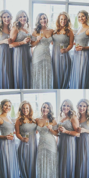 A-Line Spaghetti Straps Sequined Blue Tulle Bridesmaid Dresses,Cheap Bridesmaid Dresses,WGY0304
