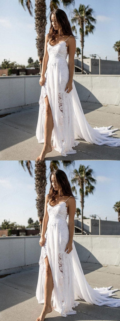 Custom Made Chiffon Lace Flower Spaghetti Open Back Beach Wedding Dresses, WDY0199