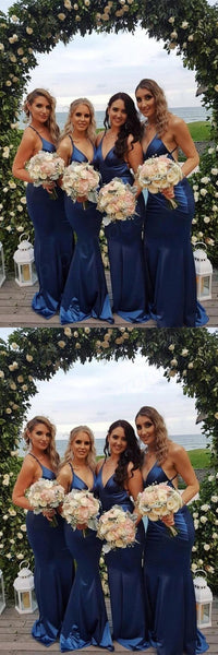 Cheap Mermaid V-Neck Backless Floor-Length Royal Blue Long Bridesmaid Dresses,Wedding Party Gowns,WGY0245