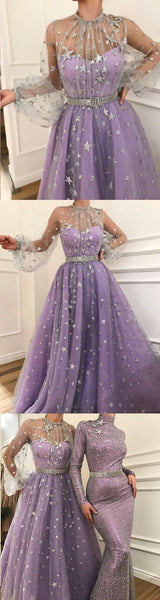 High Neck A-line Sparkly Star Lace Lilac Long Prom Dresses,Cheap Prom Dresses,PDY0527