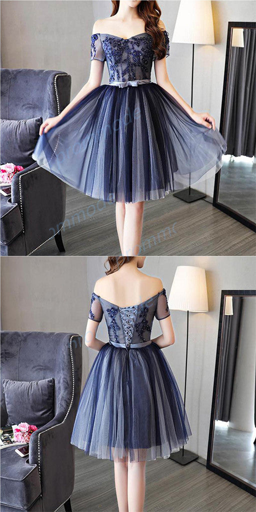 Attractive A-line Tulle Dark Blue Sleeveless  Short Homecoming Dress With Beading ,BDY0165