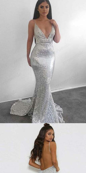 Sparkly Sliver Backless Halter V-Neck Sexy Prom Dresses, Evening Party Dresses,PDY0255