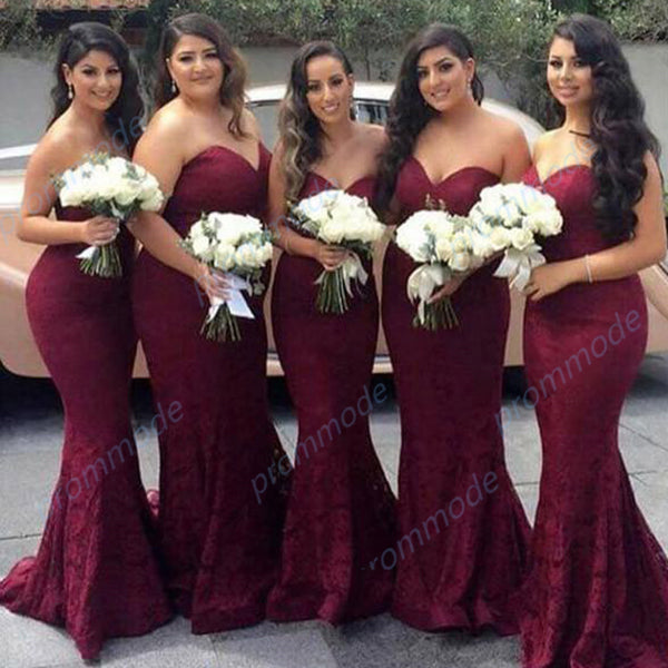 Elegant Sweetheart Burgundy Lace Mermaid Cheap Long Bridesmaid Dresses,WGY0202