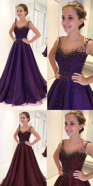 2019 Sparkly Burgundy Round Neck Tulle Beads  Long Prom,Evening Dress.PDY0239