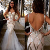 Sleeveless Tulle Mermaid Sequin Backless Long Prom Dress, Formal Evening Gowns,PDY0294