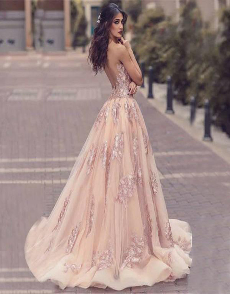 Charming Sweep Train Deep V Neck Pink Tulle Prom Dress with Lace Appliques,Evening Party Dresses,PDY0257