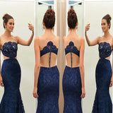 Unique Navy Blue Lace See-through Round Neck Mermaid Floor-length Prom Dress ,Evening Party Dresses,PDY0259