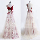 Sexy Transparent Tulle Open Back Formal Evening Dress Custom Made,Evening Party Dress,PDY0290