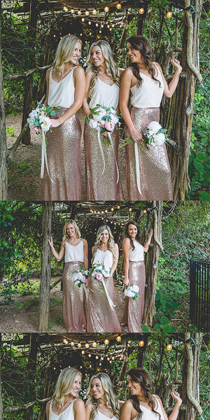 Two Piece Spaghetti Straps Bridesmaid Dresses, Shinning Gold Rose Bridesmaid Dresses,Cheap Bridesmaid Dresses,WGY0266