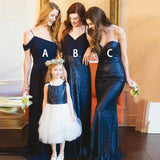 Cheap Spaghetti Straps Dark Blue Sequin Long Bridesmaid Dresses,Wedding Party Gowns,WGY0240