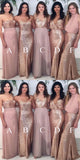 Sweetheart A-Line Blush Chiffon Sequins Long Bridesmaid Dresses,Wedding Party Dresses,WGY0183