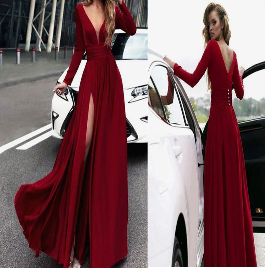 Long Sleeves Dark Red,V Neck Prom Dress With High Slit ,Evening ...