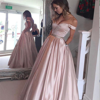 Fashion A-line Off-The-Shoulder Pink Long Prom Dress with Pockets,Party Dresses,New Evening Dress,PDY0300