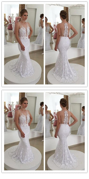 Attractive Tulle Mermaid V-neck Sweetheart Long Wedding Dress With Lace Appliques,WDY0170