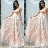 Princess A-Line Sweetheart Blush Pink Tulle Long Prom Dress with Flowers,Evening Party Dresses,PDY0258