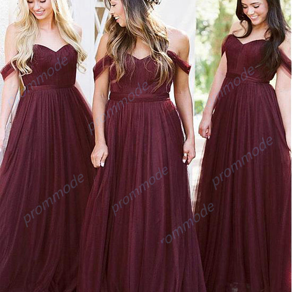 Fabulous Tulle Off-the-shoulder Burgundy A-line Long Bridesmaid Dress With Belt ,WGY0206