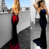 2019 Sexy Mermaid Spaghetti Straps Backless Satin Long Prom/Evening Dress with Lace, PDY0215