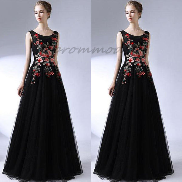 2019 Blcak Round Neck Long Prom Dresses With Embroidery, Evening Dresses,Party Dresses,PDY0350