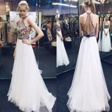 White Halter Backless Princess Prom Dresses For Teens,Cheap Evening Dresses,Simple Evening Party Dresses,PDY0263