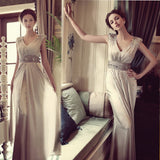 Sweetheart A-Line V-Neck Gray Chiffon Sequins Long Bridesmaid Dresses,Wedding Party Dresses,WGY0184