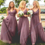 Stunning Spaghetti Straps Tulle V-Neck Floor Length Long Bridesmaid Dresses,WGY0204