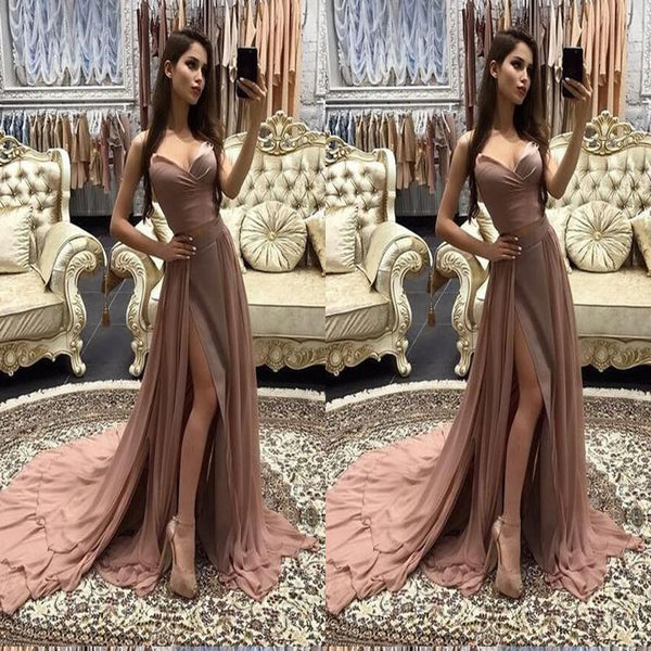 Elegant Two Piece A-Line Chiffon Long Prom Dresses, Cheap Evening Dresses,Party Dresses,PDY0342