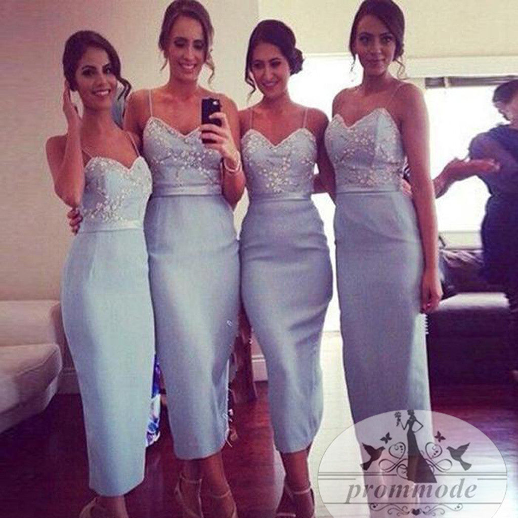 Blue Tea Length Bridesmaid Dress, Charming Party Dress, EPR001