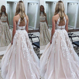 2019 Newest two-pieces floor-length sleeveless high-neck evening gown, Dignified elegant Long Prom Dresses,PDY0283
