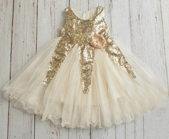 Cheap Ivory Tulle & Gold Sequin Ball Gown, Little Girl Dresses With Lace ,Flower Girl Dresses ,FGY0174