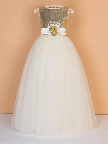 Beteau Sequin Tulle Ball Gown with Sash, Pegeant Flower Girl Dresses with Big Bow , SEME090