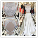 New Arrival Prom Dress,Sequin Two Pieces Beaded Satin Open Back Ball gowns,PDY0167