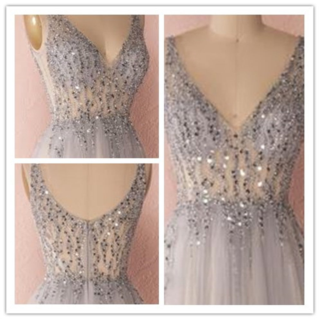 V-Neck Beading Spaghetti Strap  Prom Dresses ,Evening Dresses  Party Dress, PDY0166