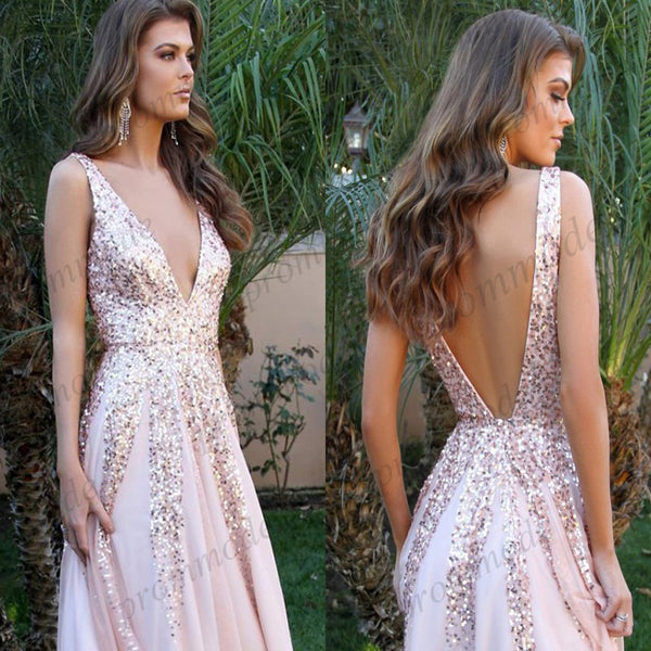 Stunning Long Sequin A-Line V-Neck Open Back Prom Gown , Evening Dress,PDY0359