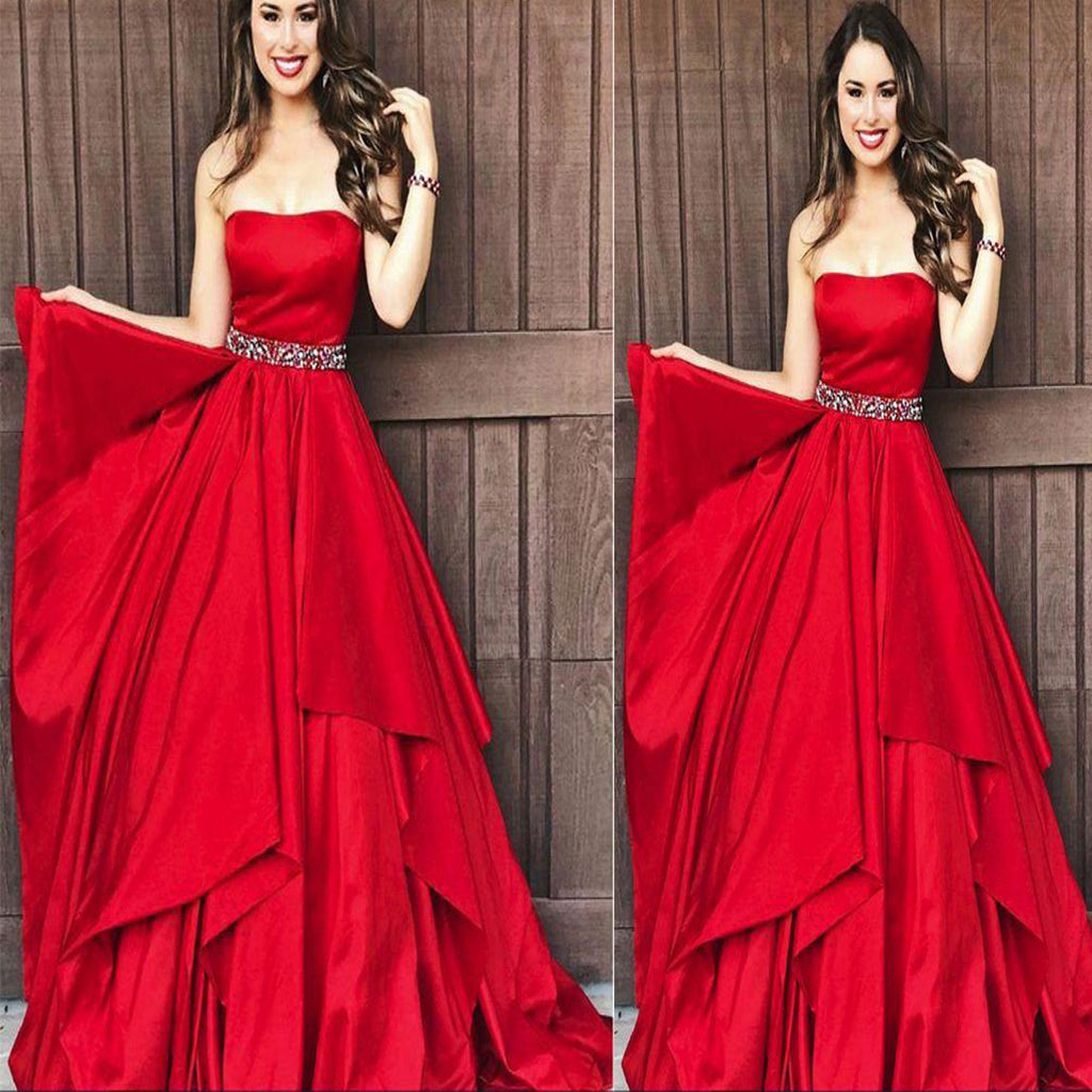 A-line Strapless Satin Beading Red  Layered Long Elegant Prom Dresses, Fashion Gown. PDY0184