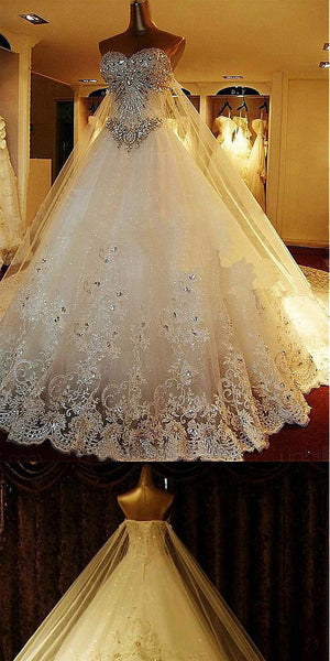 Luxury Tulle  Sweetheart A-Line Wedding Dresses With Sequined Lace Appliques & Rhinestones, Wedding Party,WDY0197