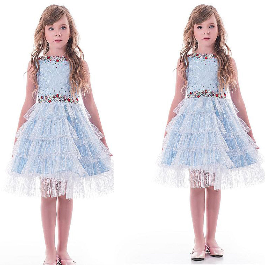 Unique Lace Blue Tea-length A-line Flower Girl Dresses With Beadings ,FGY0159