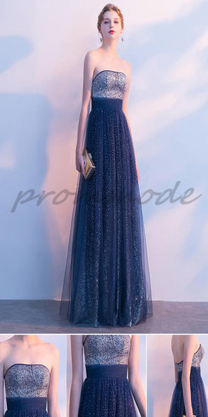 Navy Blue Tulle Strapless Long Shinny Sequin Evening Gowns,Prom Dresses,Party Dresses,PDY0347