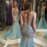 Backless V Neck Sparkly Sexy Most Popular Formal Prom Dress ,Evening Dress , PDY0121