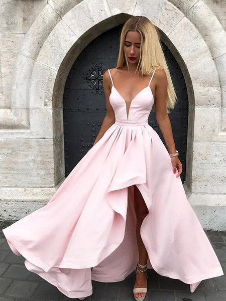 V-neck Spaghetti Pink/ Ice Blue Satin Asymetric Prom Dresses with Ruffles, A-line Long Charming Evening Dress with Side-slit, EPR427